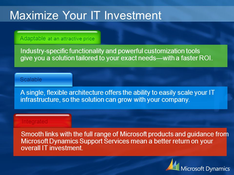 Maximize Your IT Investment Industry-specific functionality and powerful customization tools give you a solution tailored to your exact needswith a fa
