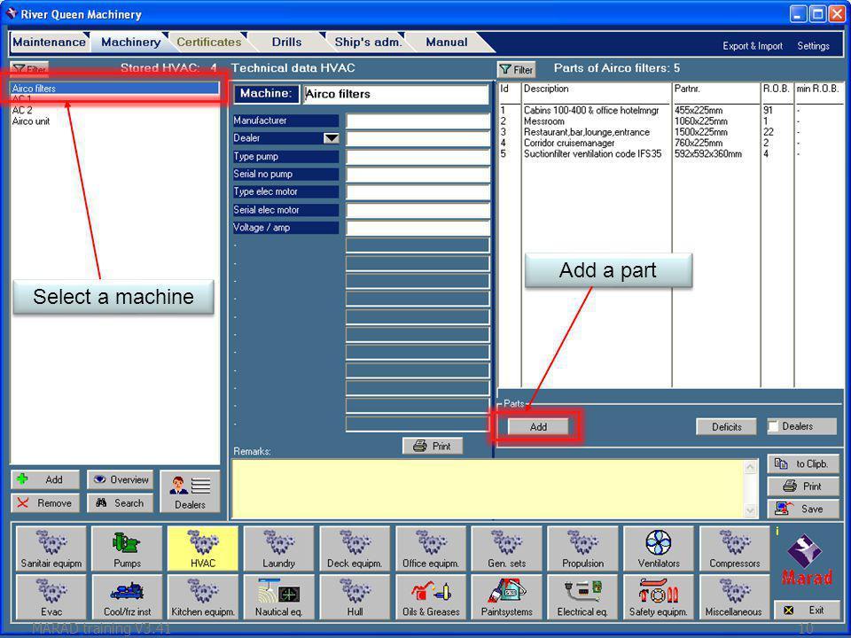 Select a machine Add a part MARAD training V3.4110