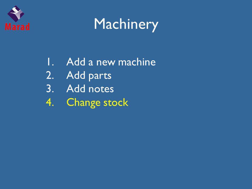 Machinery 1.Add a new machine 2.Add parts 3.Add notes 4.Change stock