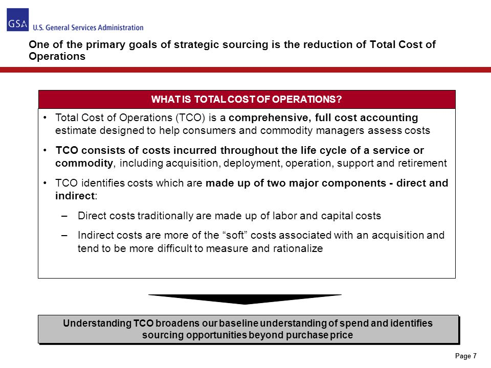 Page 28 STEPS TO CONDUCT A TCO EVALUATION 1)Before beginning any acquisition, through market research or product analysis, identify the key cost elements that comprise the total cost of operations for this commodity – beyond just price 2)Identify the cost drivers for this commodity – which of these can we control/influence.