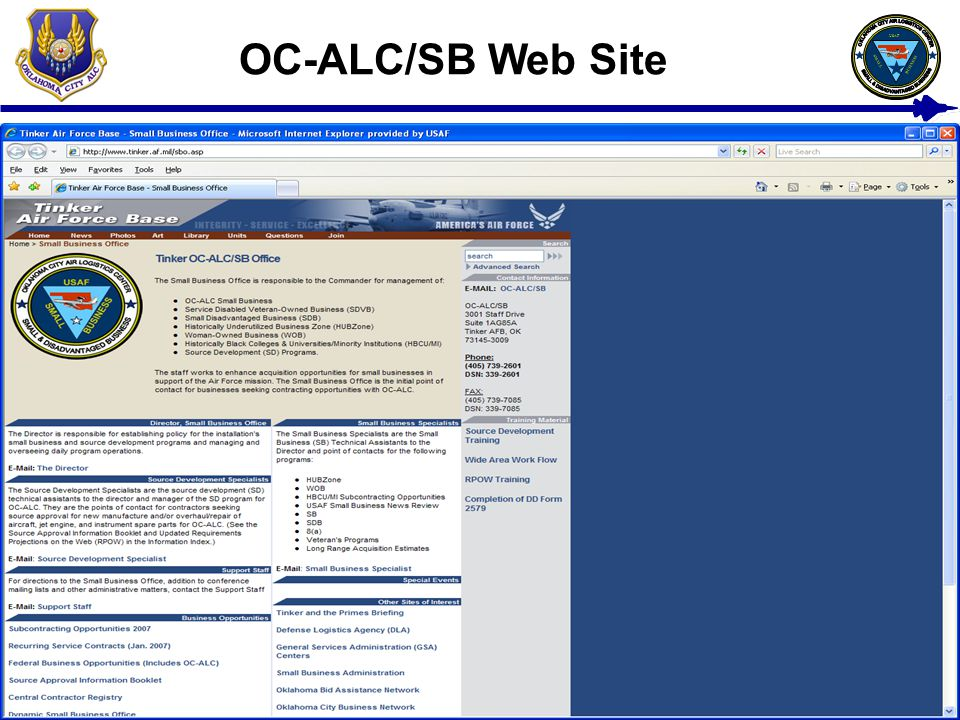 11 USAF BUSINESS SMALL OC-ALC/SB Web Site