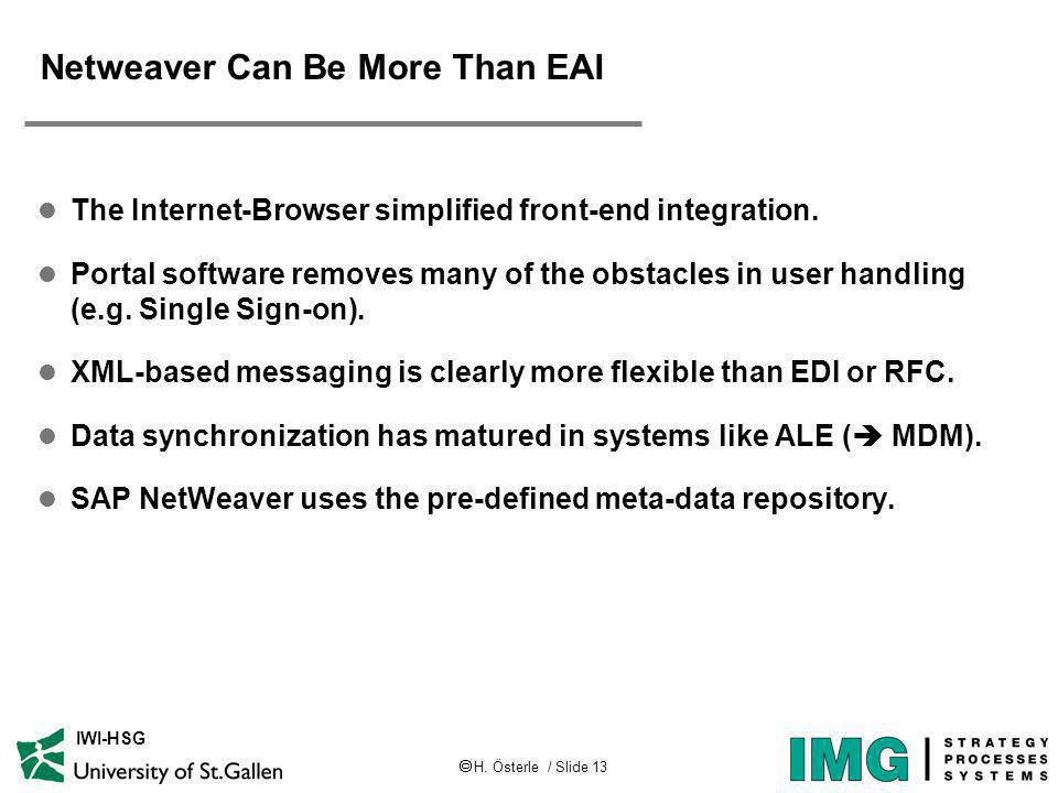 H. Österle / Slide 13 IWI-HSG Netweaver Can Be More Than EAI l The Internet-Browser simplified front-end integration. l Portal software removes many o