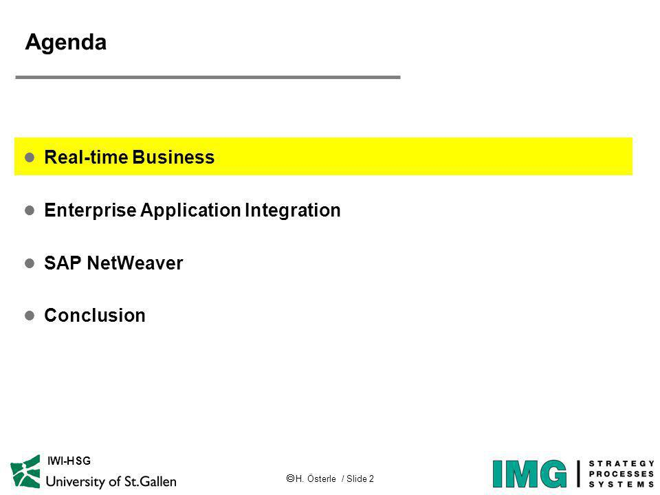 H. Österle / Slide 2 IWI-HSG Agenda l Real-time Business l Enterprise Application Integration l SAP NetWeaver l Conclusion