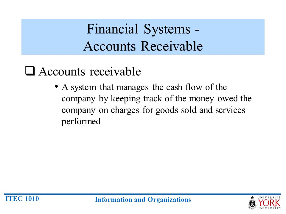 ITEC 1010 Information and Organizations Financial Systems - Accounts Receivable Accounts receivable A system that manages the cash flow of the company