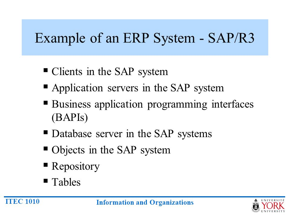 ITEC 1010 Information and Organizations Example of an ERP System - SAP/R3 Clients in the SAP system Application servers in the SAP system Business app