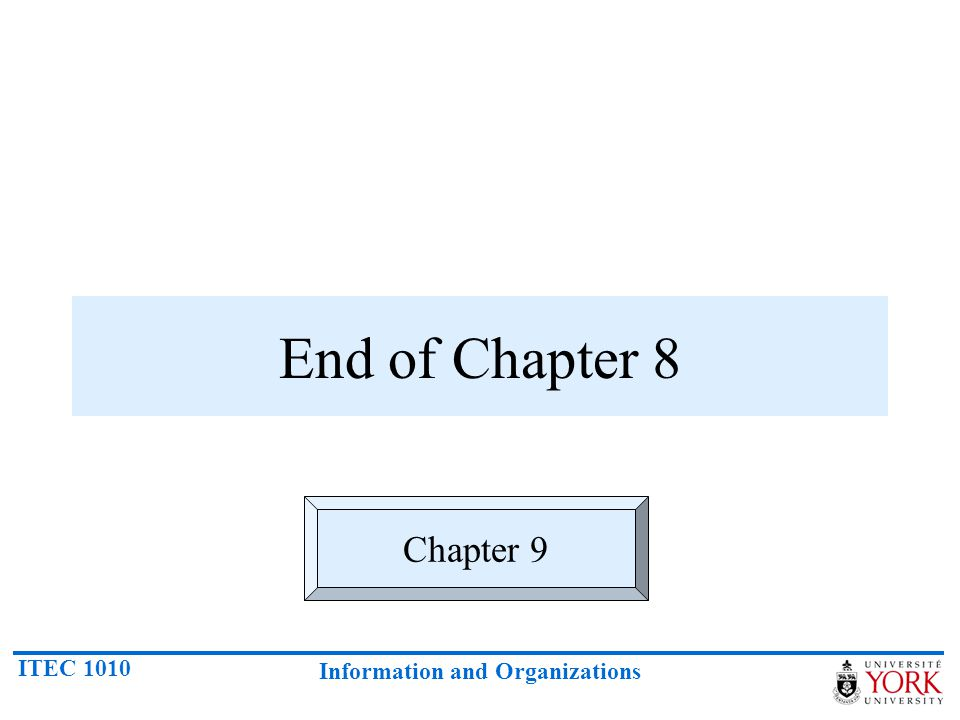 ITEC 1010 Information and Organizations End of Chapter 8 Chapter 9