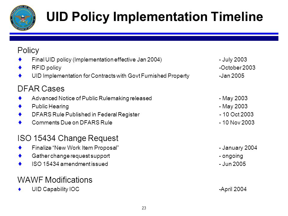 23 UID Policy Implementation Timeline Policy Final UID policy (Implementation effective Jan 2004)- July 2003 RFID policy-October 2003 UID Implementati