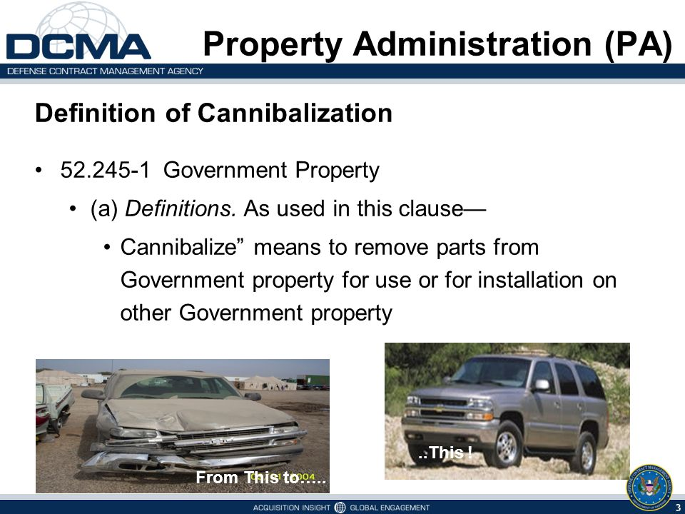 3 6/1/2014 Property Administration (PA) Definition of Cannibalization 52.245-1 Government Property (a) Definitions. As used in this clause Cannibalize