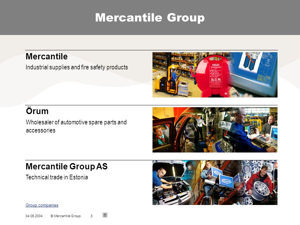 04.06.2004© Mercantile Group3 Mercantile Group Group companies Mercantile Industrial supplies and fire safety products Örum Wholesaler of automotive s