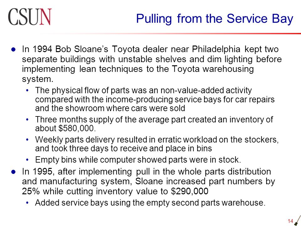 14 Pulling from the Service Bay In 1994 Bob Sloanes Toyota dealer near Philadelphia kept two separate buildings with unstable shelves and dim lighting