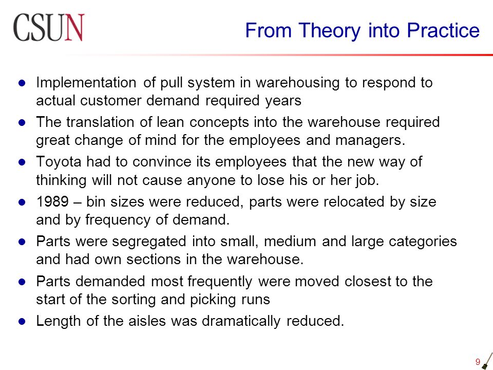10 From Theory into Practice 1990 - standard work and visual controls were introduced by dividing the workday into 12 minute cycles.