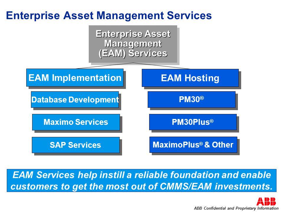 Enterprise Asset Management Services Enterprise Asset Management (EAM) Services EAM Hosting EAM Implementation Database Development Maximo Services SA