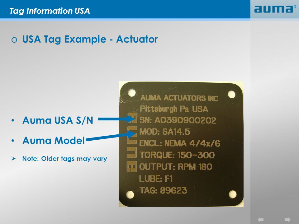 Tag Information USA o USA Tag Example - Actuator Auma USA S/N Auma Model Note: Older tags may vary