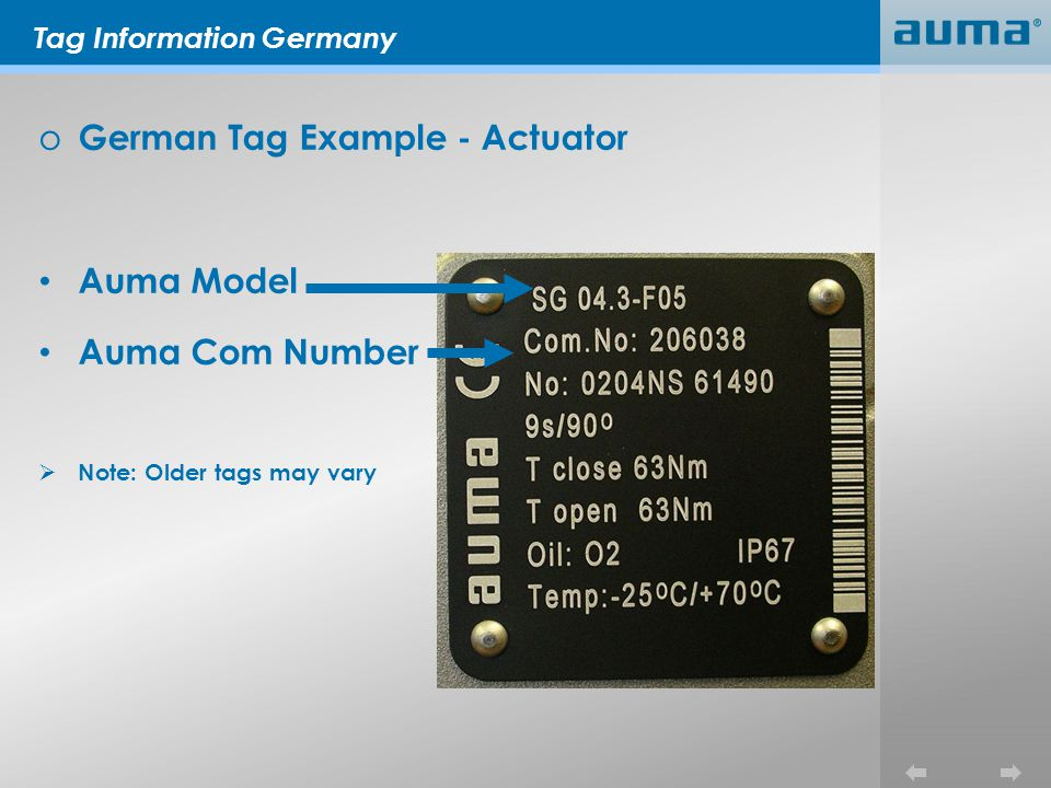 Tag Information Germany o German Tag Example - Actuator Auma Model Auma Com Number Note: Older tags may vary