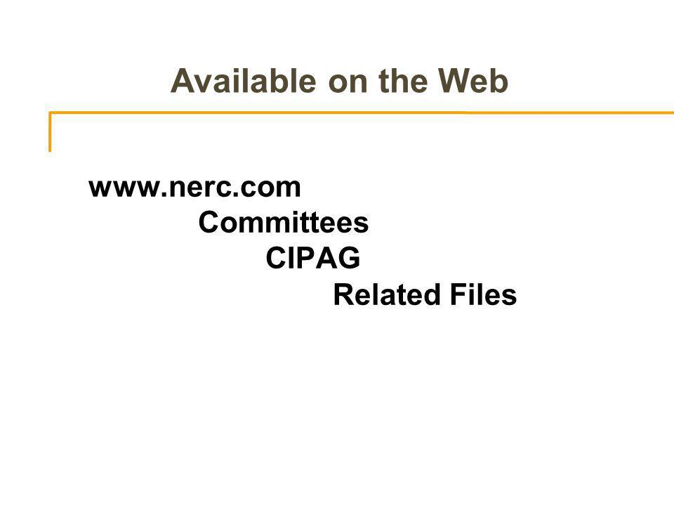 Available on the Web   Committees CIPAG Related Files