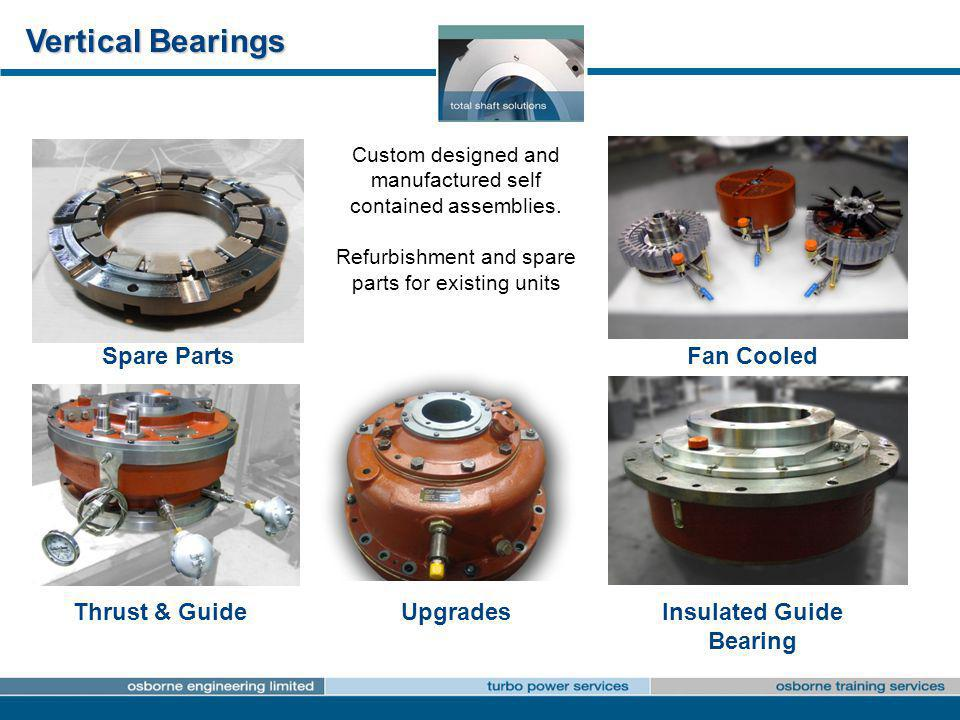 Vertical Bearings Spare Parts Thrust & GuideInsulated Guide Bearing Upgrades Fan Cooled Custom designed and manufactured self contained assemblies. Re