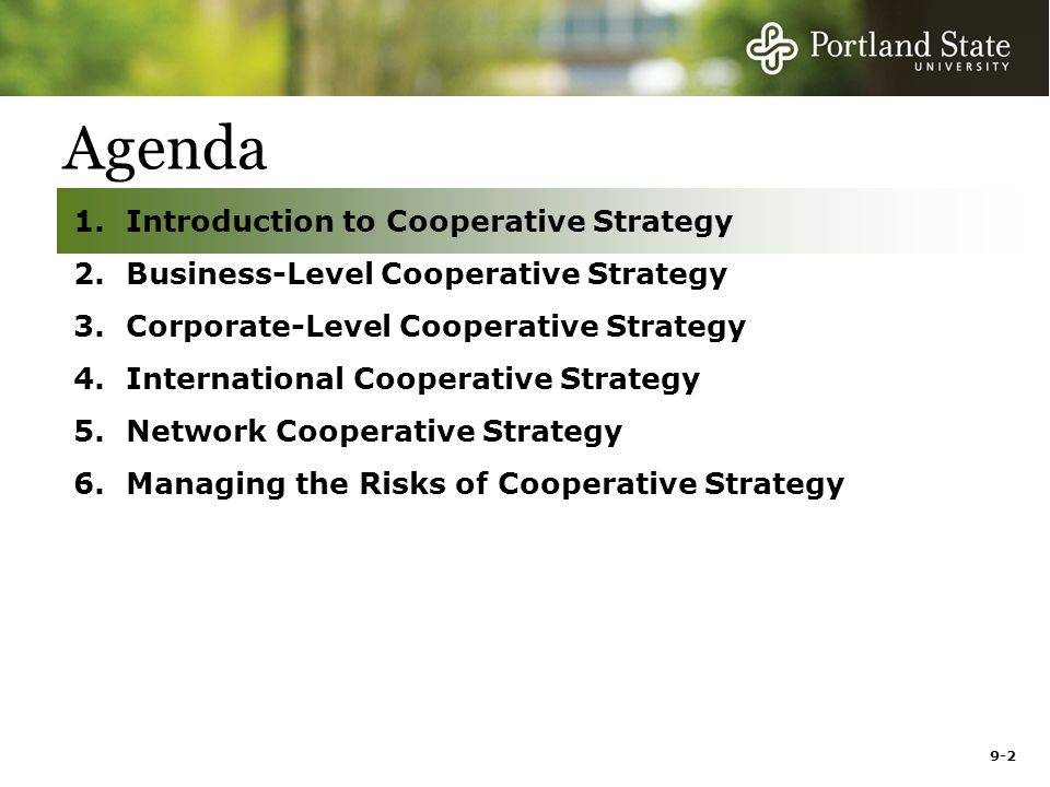 9-2 Agenda 1.Introduction to Cooperative Strategy 2.Business-Level Cooperative Strategy 3.Corporate-Level Cooperative Strategy 4.International Cooperative Strategy 5.Network Cooperative Strategy 6.Managing the Risks of Cooperative Strategy