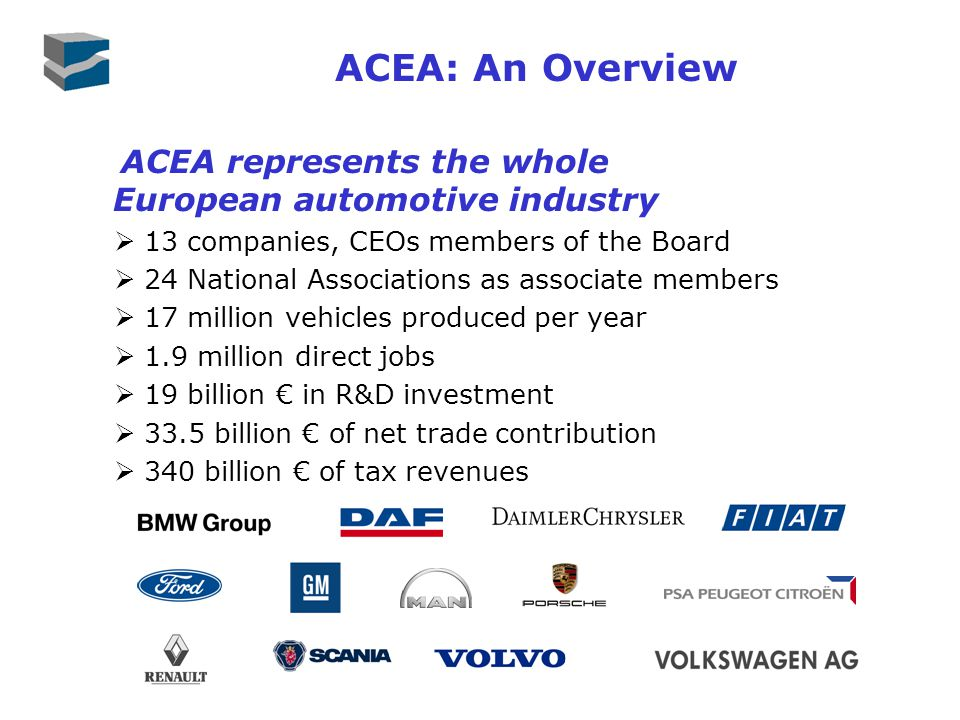 ACEA: An Overview ACEA represents the whole European automotive industry 13 companies, CEOs members of the Board 24 National Associations as associate