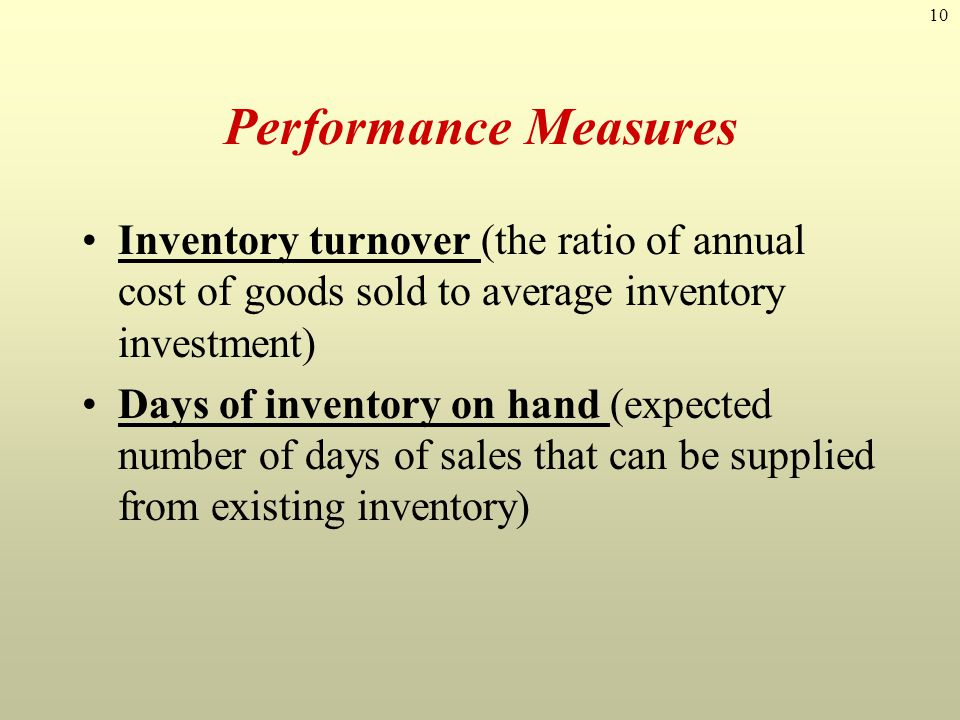 10 Performance Measures Inventory turnover (the ratio of annual cost of goods sold to average inventory investment) Days of inventory on hand (expecte