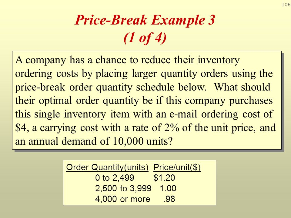 106 Price-Break Example 3 (1 of 4) A company has a chance to reduce their inventory ordering costs by placing larger quantity orders using the price-b