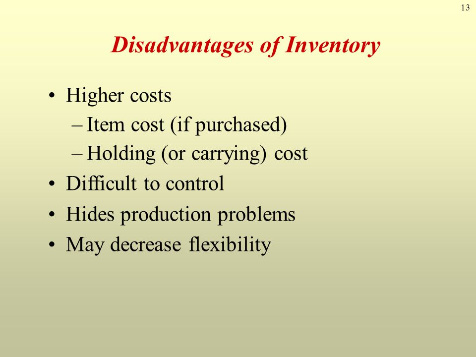 13 Higher costs –Item cost (if purchased) –Holding (or carrying) cost Difficult to control Hides production problems May decrease flexibility Disadvan