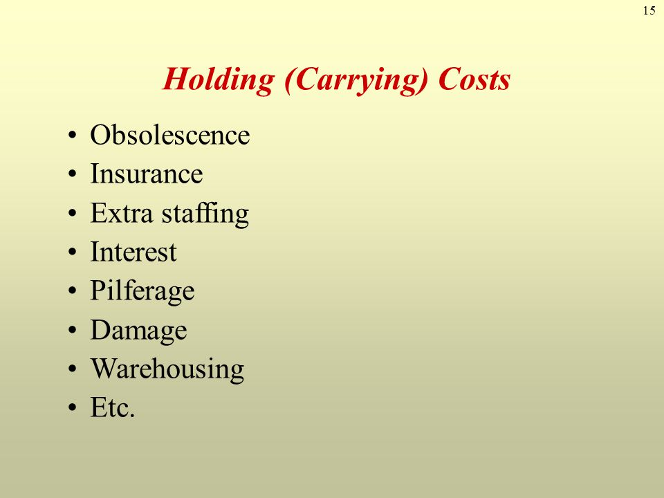 15 Holding (Carrying) Costs Obsolescence Insurance Extra staffing Interest Pilferage Damage Warehousing Etc.