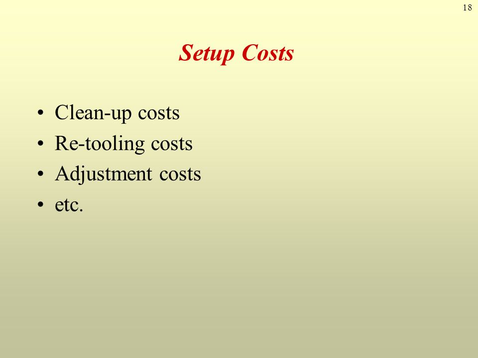 18 Setup Costs Clean-up costs Re-tooling costs Adjustment costs etc.