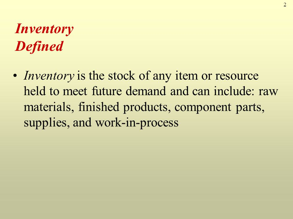 3 Inventory Process stage Demand Type Number & Value Other Raw Material WIP Finished Goods Independent Dependent A Items B Items C Items Maintenance Operating Inventory Classifications