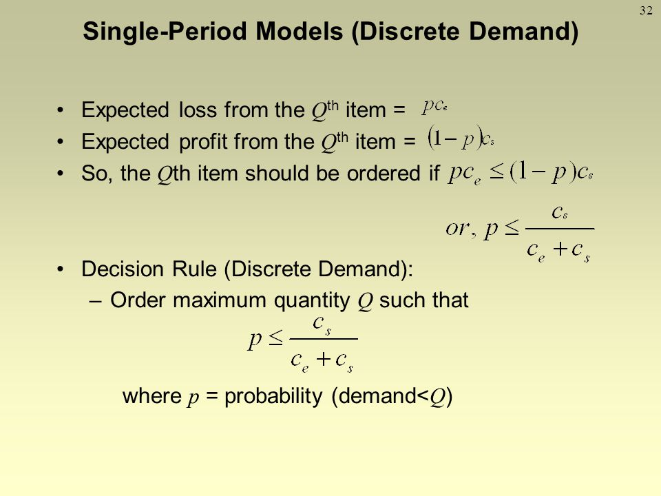 32 Expected loss from the Q th item = Expected profit from the Q th item = So, the Q th item should be ordered if Decision Rule (Discrete Demand): –Or