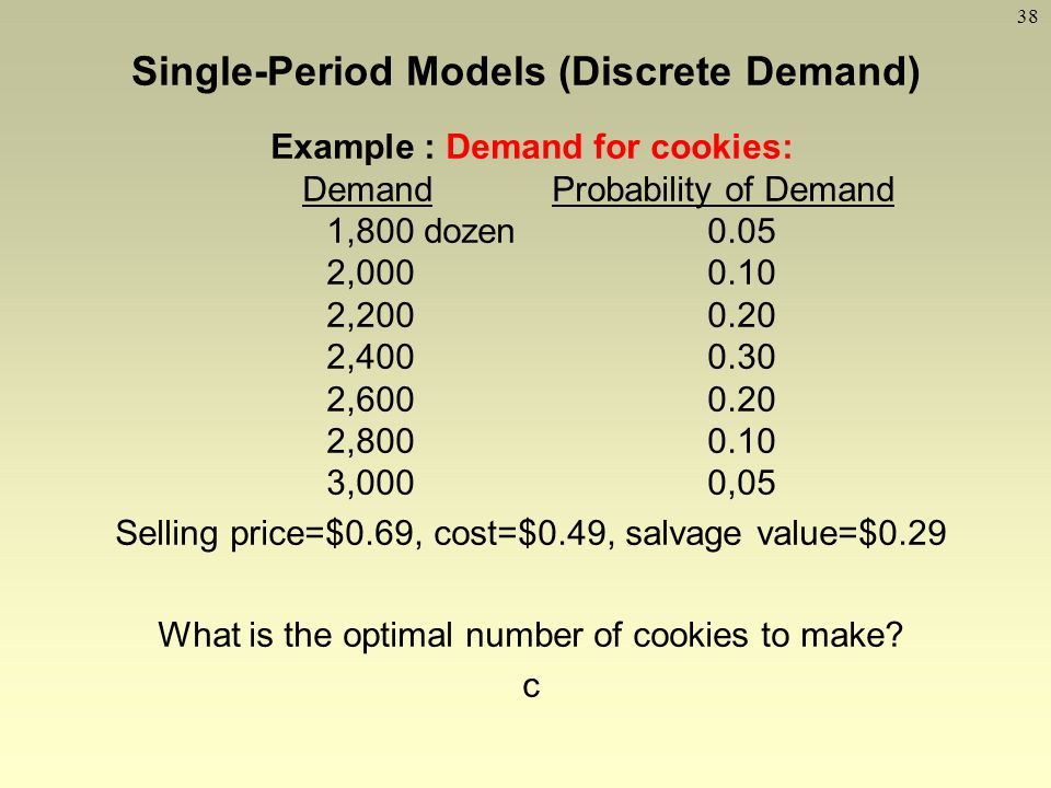 38 Example : Demand for cookies: Demand Probability of Demand 1,800 dozen0.05 2,0000.10 2,2000.20 2,4000.30 2,6000.20 2,8000.10 3,0000,05 Selling pric