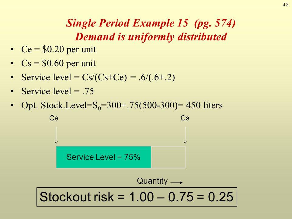 48 Single Period Example 15 (pg. 574) Demand is uniformly distributed Ce = $0.20 per unit Cs = $0.60 per unit Service level = Cs/(Cs+Ce) =.6/(.6+.2) S