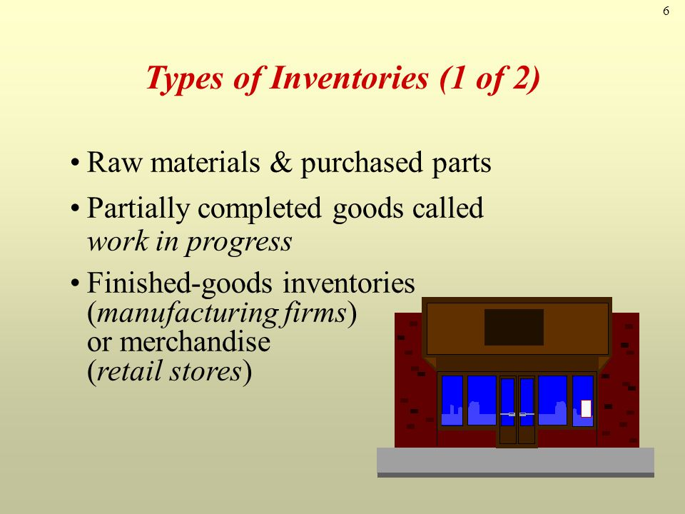 7 Types of Inventories (2 of 2) Replacement parts, tools, & supplies Goods-in-transit to warehouses or customers
