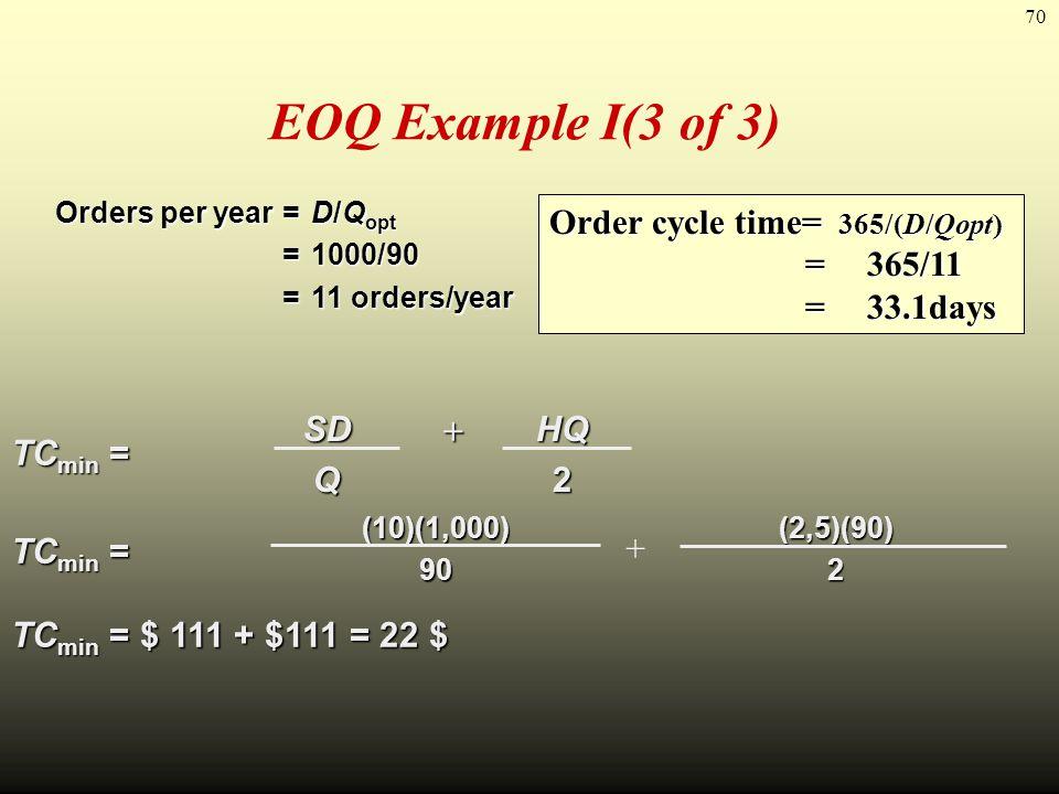 70 EOQ Example I(3 of 3) TC min = SDSDQQSDSDQQQ HQHQ22HQHQ222 (10)(1,000)90 (2,5)(90) 2 TC min = $ 111 + $111 = 22 $ Orders per year =D/Q opt =1000/90