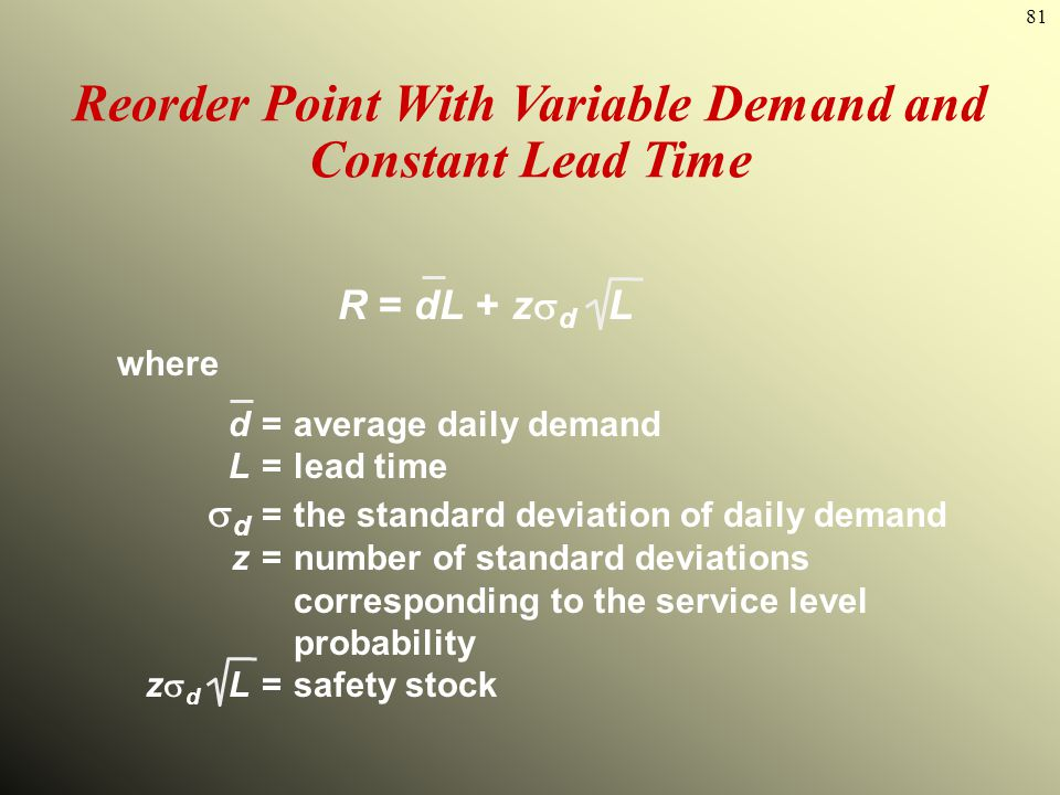 81 Reorder Point With Variable Demand and Constant Lead Time R = dL + z d L where d=average daily demand L=lead time d =the standard deviation of dail
