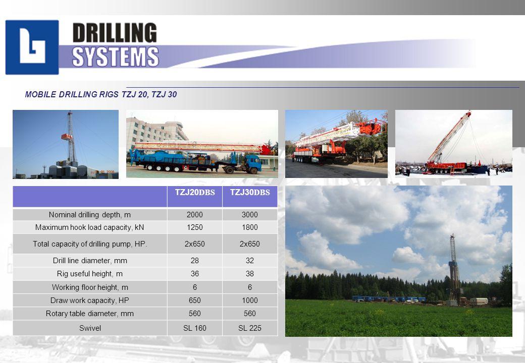 MOBILE DRILLING RIGS TZJ 20, TZJ 30 ТZJ20 DBS ТZJ30 DBS Nominal drilling depth, m20003000 Maximum hook load capacity, kN12501800 Total capacity of dri