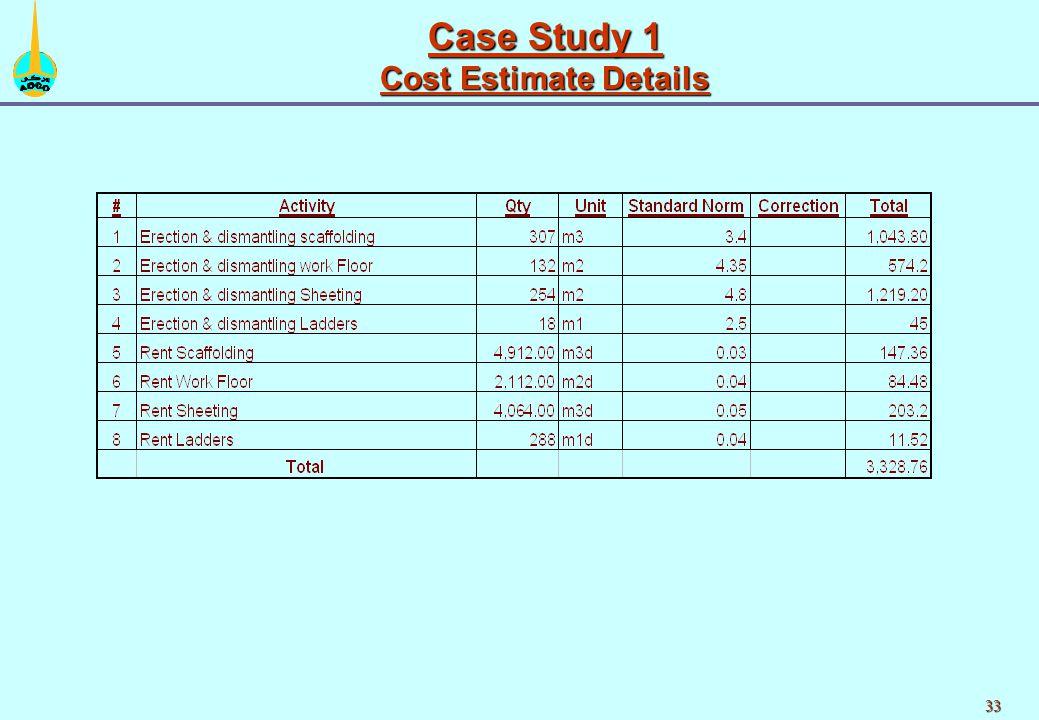 33 Case Study 1 Cost Estimate Details
