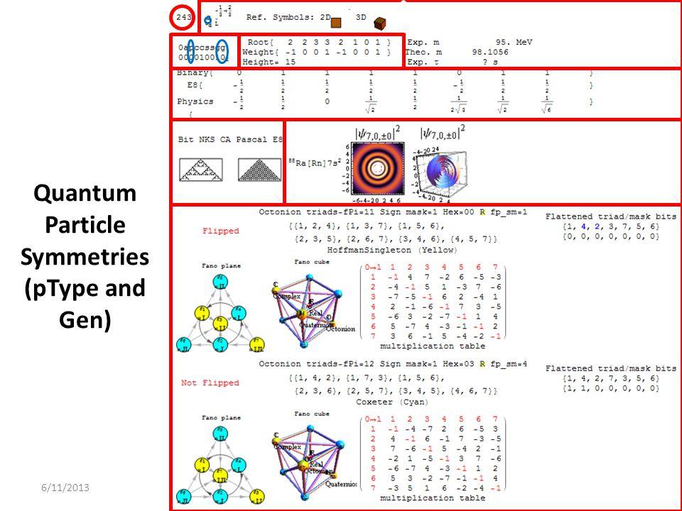 6/11/2013 Quantum Particle Symmetries (pType and Gen)