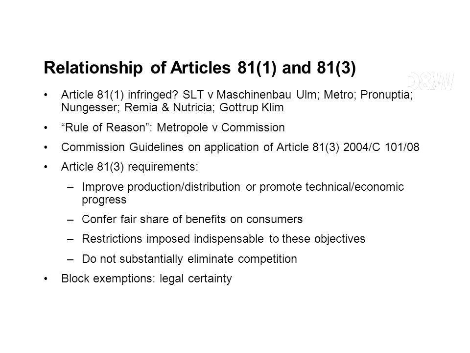Article 81(1) infringed? SLT v Maschinenbau Ulm; Metro; Pronuptia; Nungesser; Remia & Nutricia; Gottrup Klim Rule of Reason: Metropole v Commission Co