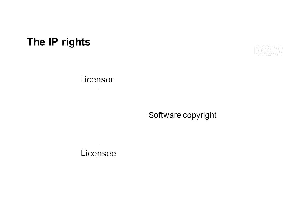 The IP rights Licensor Licensee Software copyright