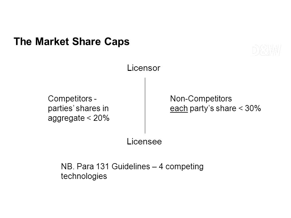 The Market Share Caps Licensor Licensee Non-Competitors each partys share < 30% Competitors - parties shares in aggregate < 20% NB. Para 131 Guideline