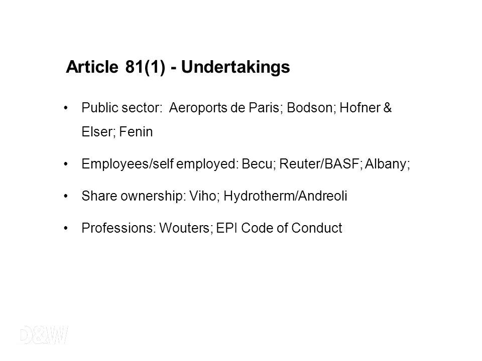 Article 81(1) - Undertakings Public sector: Aeroports de Paris; Bodson; Hofner & Elser; Fenin Employees/self employed: Becu; Reuter/BASF; Albany; Shar
