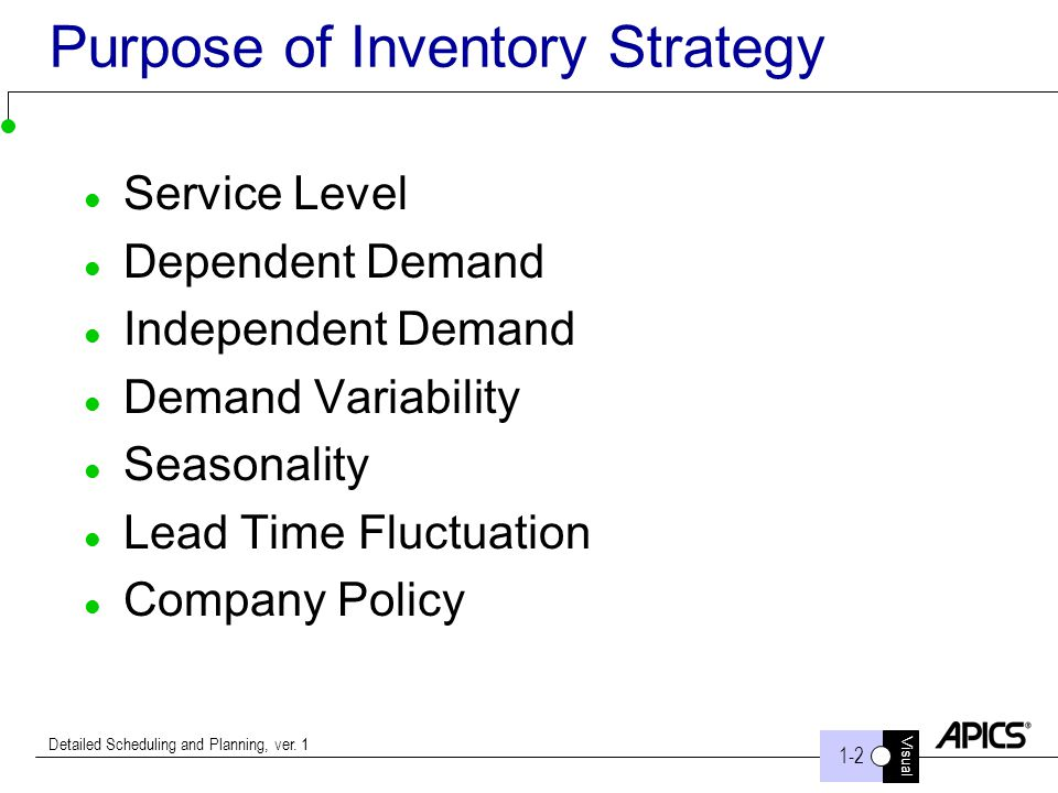 Visual 1-2 Detailed Scheduling and Planning, ver. 1 Purpose of Inventory Strategy Service Level Dependent Demand Independent Demand Demand Variability