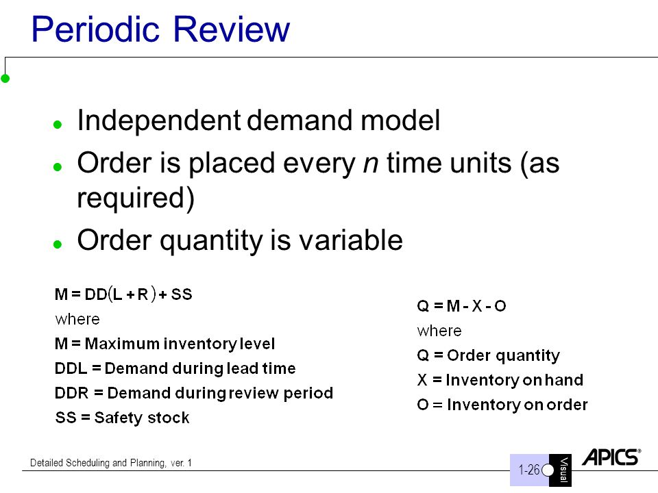 Visual 1-26 Detailed Scheduling and Planning, ver. 1 Periodic Review Independent demand model Order is placed every n time units (as required) Order q