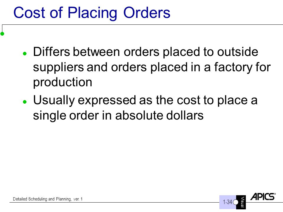 Visual 1-34 Detailed Scheduling and Planning, ver. 1 Cost of Placing Orders Differs between orders placed to outside suppliers and orders placed in a