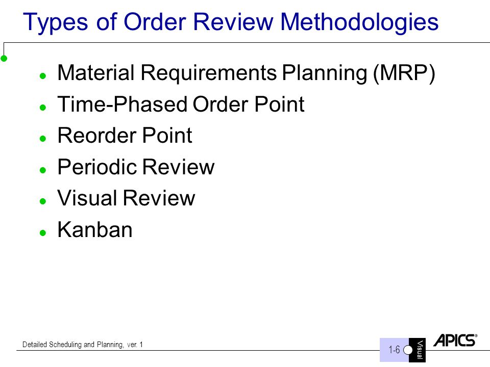 Visual 1-6 Detailed Scheduling and Planning, ver. 1 Types of Order Review Methodologies Material Requirements Planning (MRP) Time-Phased Order Point R