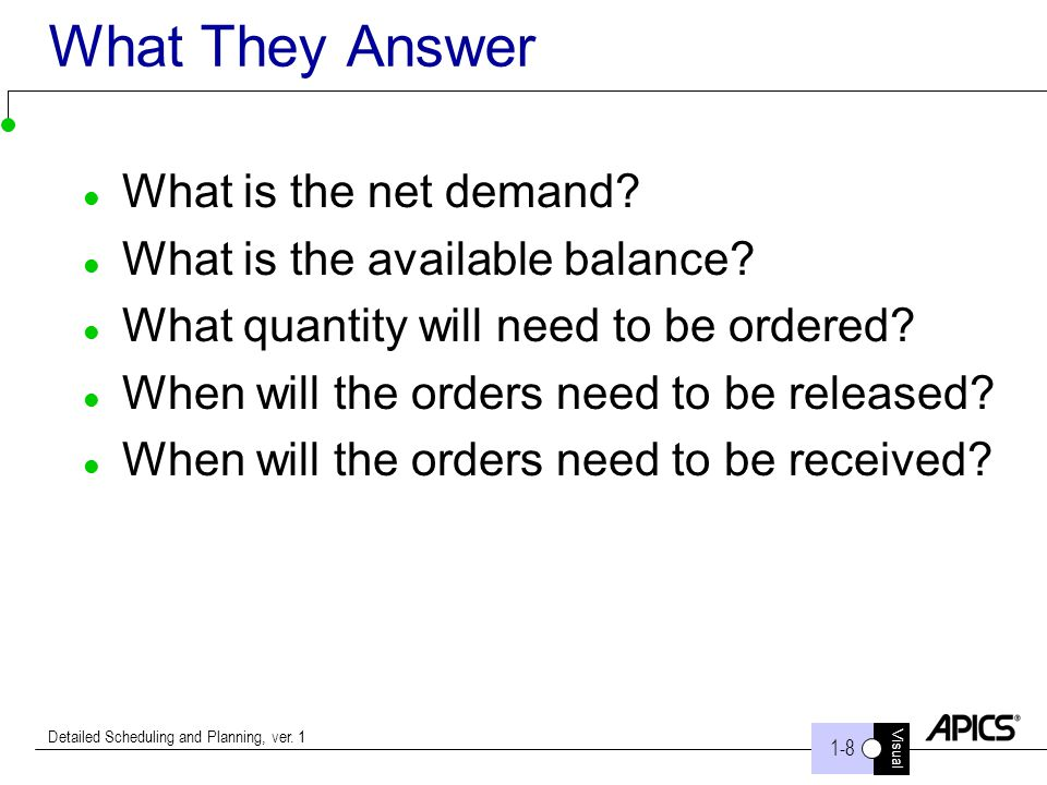 Visual 1-8 Detailed Scheduling and Planning, ver. 1 What They Answer What is the net demand? What is the available balance? What quantity will need to
