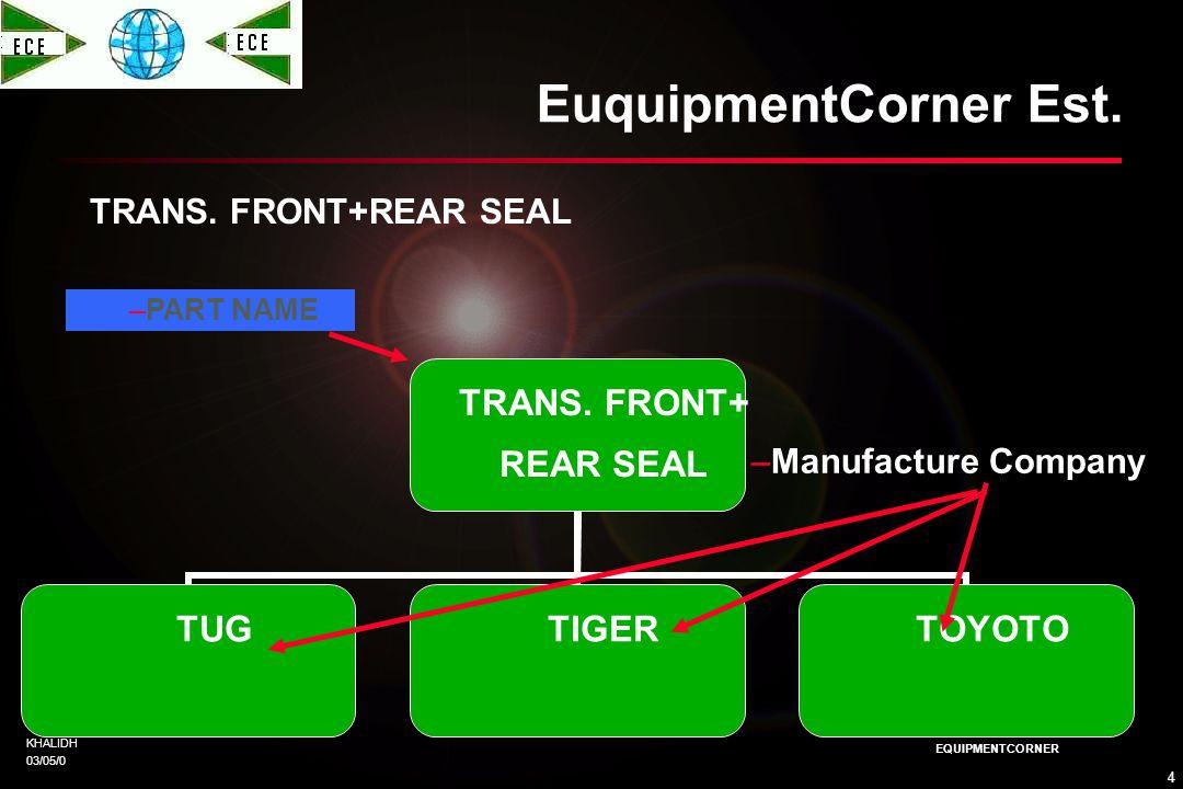 KHALIDH 03/05/0 3 EQUIPMENTCORNER EuquipmentCorner Est. TRANMISSION ASSEMPLY TRANMISSION ASSEMPLY TUGTIGERTOYOTO –PART NAME –Manufacture Company