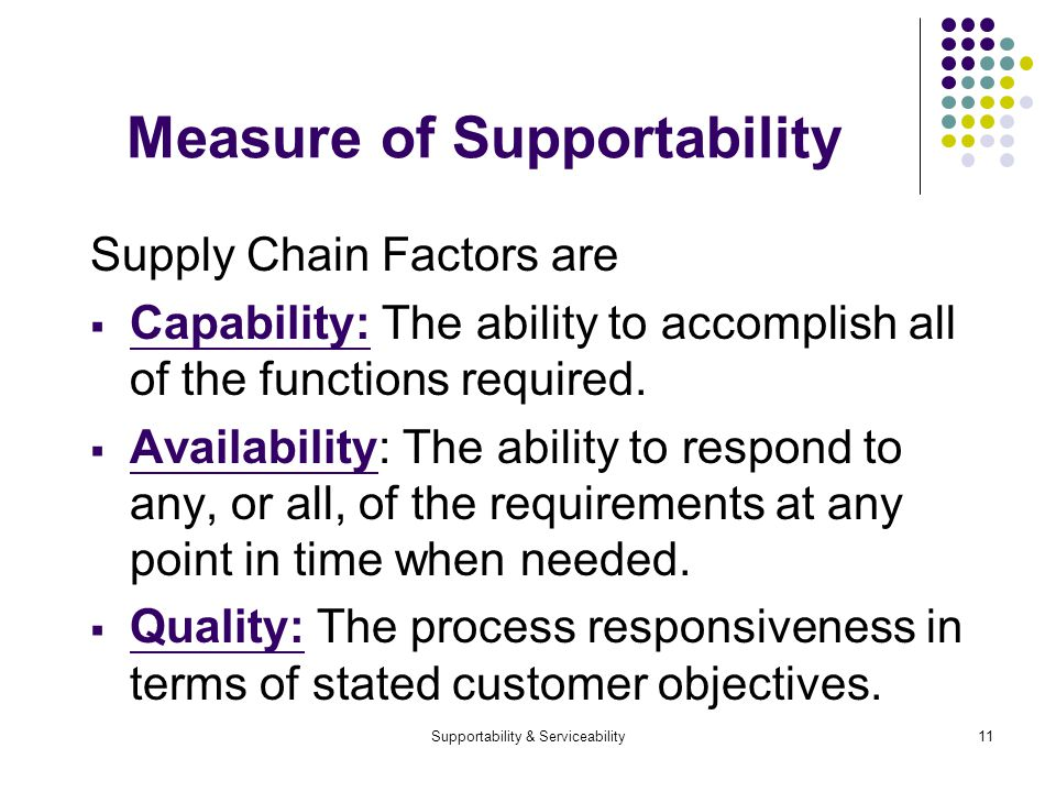 Supportability & Serviceability11 Measure of Supportability Supply Chain Factors are Capability: The ability to accomplish all of the functions required.