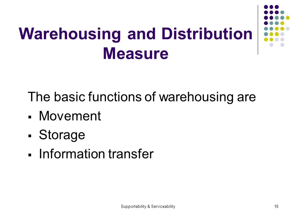 Supportability & Serviceability16 Warehousing and Distribution Measure The basic functions of warehousing are Movement Storage Information transfer