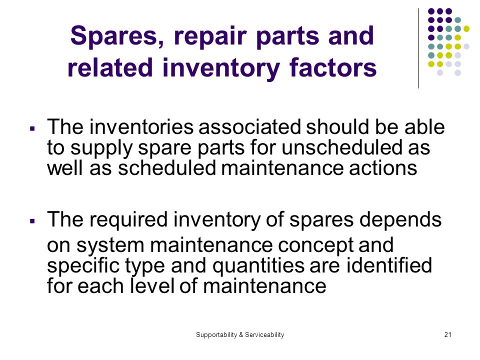 Supportability & Serviceability21 Spares, repair parts and related inventory factors The inventories associated should be able to supply spare parts for unscheduled as well as scheduled maintenance actions The required inventory of spares depends on system maintenance concept and specific type and quantities are identified for each level of maintenance